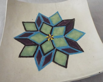 Geometric in blue and green