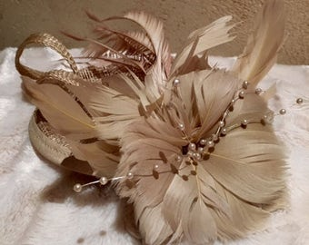 Bronze/ Gold coloured Flower and Pearl Fascinator