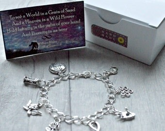 William Blake Bracelet- Auguries Of Innocence - Sterling Silver/Silver Plated- Eternity Gift,  Literary Gift, Poetry Gift,  Book Lover Gift