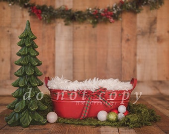 Christmas Newborn Digital Backdrop with Christmas Tree