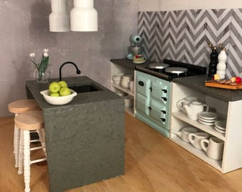 Kitchen with concrete look benchtops - custom colours
