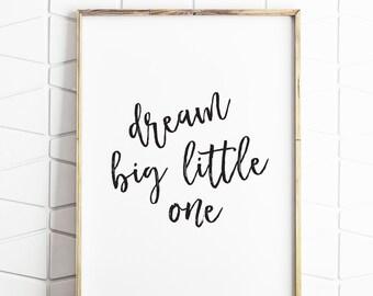 dream big little one, instant printable, digital download, nursery decor, nursery printable, nursery art, baby shower gift