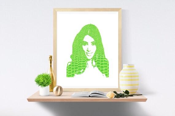 Kim Kardashian, Kanye West, Kardashian, Snake Skin, Green Print, Green Prints, White Print, White Prints, Wall Art, Art Print, Printable Art
