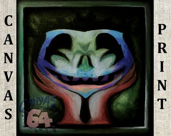 Shadow Temple Face - CANVAS PRINT- (Zelda, Ocarina of Time) Bottom of the well- Creepy smiling Original Painting