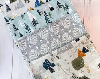 Adventure Awaits Fat Quarter Bundle. Cotton Quilting Fabric. Woodland Forest Nursery Mountains Camping Arrow Trees Boho Mountain Teepee Tipi