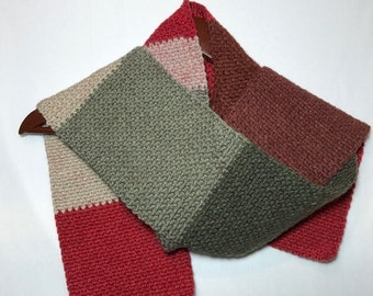 Crochet Red and Gray Striped Scarf