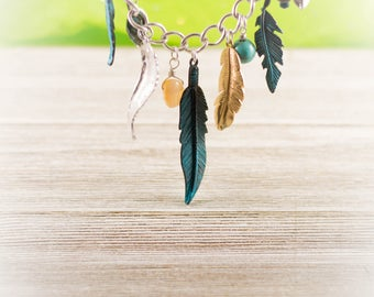 Turquoise Native Feather necklace