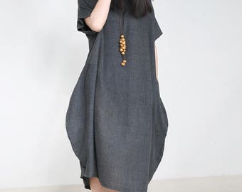 Women Gray Dress Party Dress Cotton Dress Linen Tunic Summer Dress