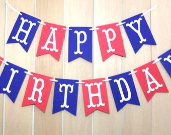 Happy Birthday banner, Birthday sign, Personalized birthday banner, Happy Birthday decorations, Flag banner, Red White and Blue, Custom name