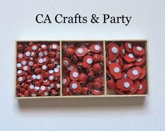 210 Wooden Ladybug Self Adhesive 3 sizes- Ladybug embellishments- Ladybug birthday party- Ladybug baby shower- lady bugs