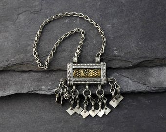 Vintage Arabic Omani Silver Hirz, Prayer or Amulet Box with Silver Chain