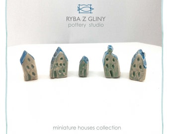 Five Houses - miniature pottery houses, Winter houses, Ceramic houses, Small clay houses, Tiny house, Christmas gift