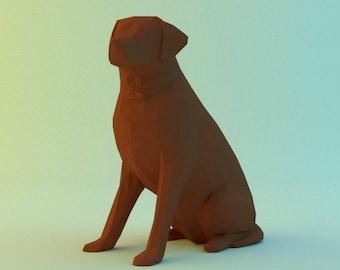DIY PAPER SCULPTURES  labrador pdf file digital product papercraft model template