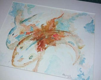 Koi Original Matted Abstract Watercolor 8 x 10 in
