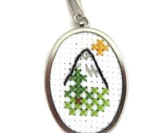 Tiny Mountain DIY Cross stitch Necklace Kit, modern cross stitch, embroidery necklace, DIY kit