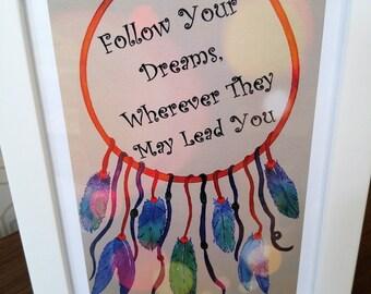 Dream Catcher Follow your Dreams, Dream Catcher Wall print, Dream Catcher Wall Decor
