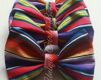 Serape hair bow mexican hair bow 5 de mayo hair bow