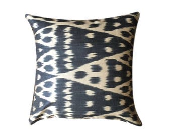 Black Ikat Cushion Pillow Cover, 45 x 45 cm