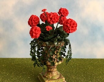 Dollhouse Miniature Red Geranium in Aged Urn with Ivy Artist Made