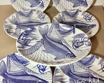 Vintage set of Ironstone Fish Plates. Blue white Carp Design. 6 round dinner and 1 large oval serving platter. 2 sets available. Seafood.