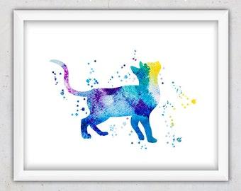 Watercolor Cat Print, Nursery Wall Art Print, Blue Art Print, Cat Nursery Room Art, Watercolor Digital Download Cat Print, Boy Room Gift