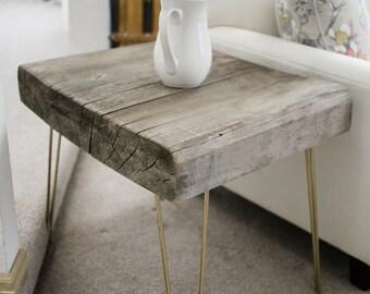 Reclaimed live-edge slab table set. Coffee table/End table.