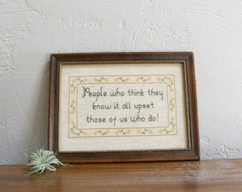 Snarky Cross Stitch, Framed Cross Stitch, Funny Cross Stitch Wall Art, Embroidery Wall Hanging, Home Decor, Snarky Gift, Textile Hanging