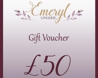 50 GBP Lingerie Gift Voucher, Silk Lingerie, Lace Lingerie, Bridal Lingerie, Gift for Her, Valentines Gift, Christmas Gift, Birthday Gift