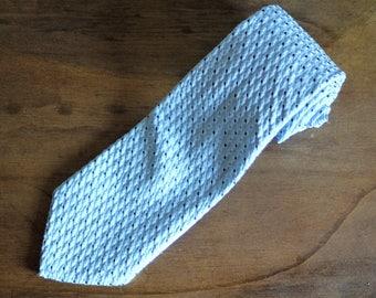 Great Mod 1970s Sears Wide Tie, Father's Day Gift, Retro Men's tie, Necktie, Baby blue tie with textured diamond pattern,