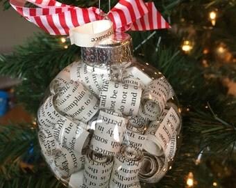 Pride and Prejudice Jane Austen Book Page Christmas Ornament
