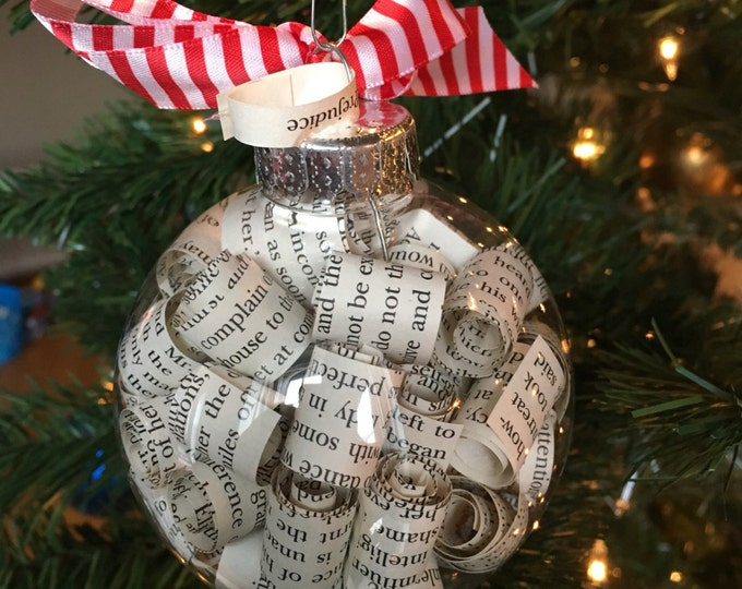 Pride and Prejudice Jane Austen Book Page Christmas Ornament