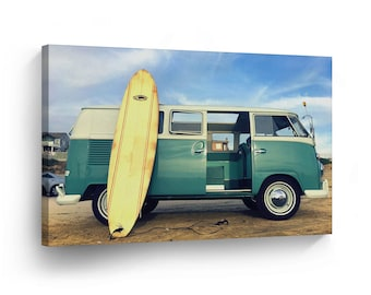 Classic Volkswagen Van Green and Surf Board Canvas Print Home Decor / Old Bus / Wall Art Gallery Wrapped /Ready to Hang