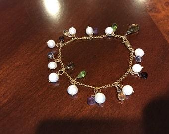Multi Semi Precious and Pearl Bracelet