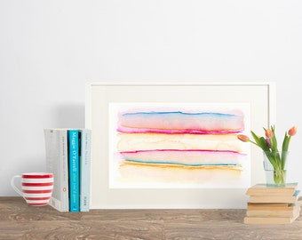PBO, Watercolour Painting, Original, 6in x 9in, Abstract Painting, Modern Painting, Minimalist Painting, Pink, Blue and Orange