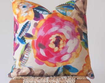 Painted Pink Flower Print Throw Pillow; Watercolor Floral Designer Cushion Cover