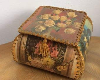 Vintage Crochet and Greetings Card Trinket, Keepsake Box - hand made craft