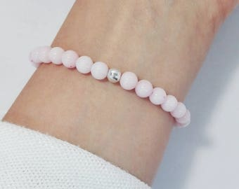 Sale ! Pink Jade Beaded Bracelets With Silver Ball Beads