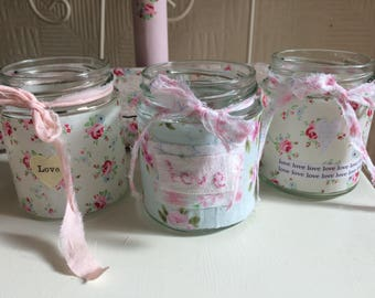 3 Tea light holder jars / pretty fabric / Shabby Chic / vintage / vase/ jars