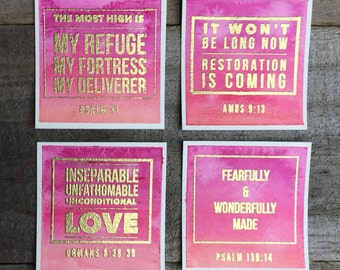 Blended Background Bible verse cards - Set of 4