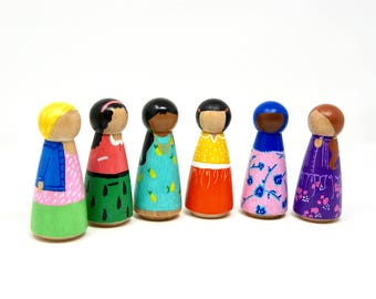 Tooty Fruity Girls- painted peg dolls (set of six)