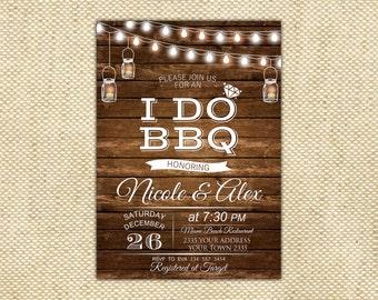 I Do BBQ Invitation. Rustic Couples Shower Invites. Fairy Lights. String Lights. Mason Jar Ball Jar Backyard Party. Wooden boards.