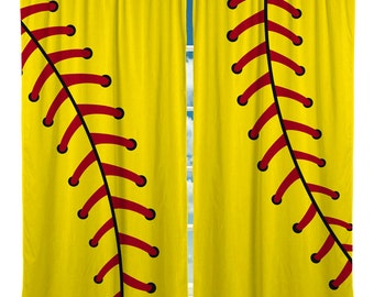 Softball Stitches Window Curtain, Yellow and many colors available.