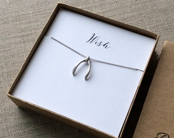 Matte Silver Wishbone Charm Necklace, silver wish bone necklace, wishbone pendant, wish necklace, bff necklace, Gifts for mom, mother's day