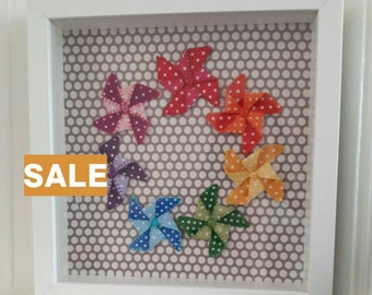 SALE**Windmill/Pinwheel Rainbow Box Frame | Nursery wall art | Nursery wall decor