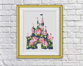 BOGO FREE! Disney Castle Cross Stitch Pattern,Floral Disney World Cross Stitch Chart,Flowers silhouette Cross ,PDF Instant Download, S110