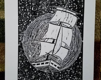 Sailing Through the Night - Black and White Linocut - Free shipping