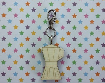 Coffee maker - progress keeper - knitting notions - charm