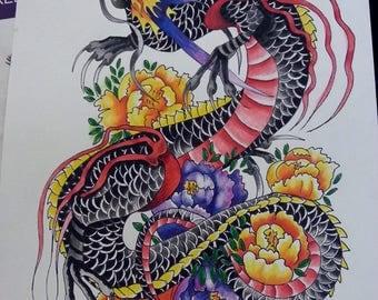 Japanese Oriental Wall Hanging Artwork Print Dragon
