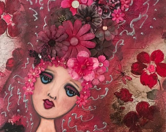 Melancholy Big Eye Art Whimsical Mixed Media Canvas 12x12