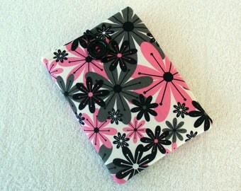 "IPad Mini Case, Kindle Fire Case, IPad Mini Cover, Kindle Fire Cover, , Kindle Fire 7 Case, Pink and Black Daisy Print, 8 1/2"" x 6"""